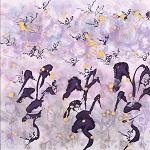 草花と蝶の戯れ  34cm×34cm